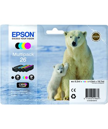 Multipack tinta 4 colores Epson 26 EPSC13T26164010 - 8715946519869