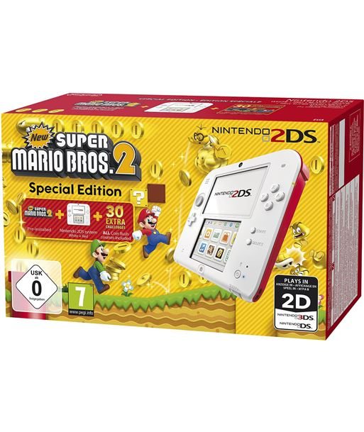 Nintendo consola 2ds hw bla/roja + new super mario bros 2 2203899 - 045496502171