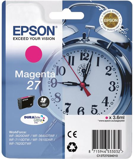 Tinta magenta Epson 27 c13t27034010 - 8715946533032