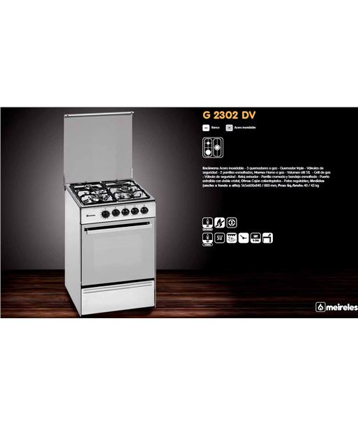 Cocina gas Meireles E531X but 3f 56.5cm inox h - E2302DVX