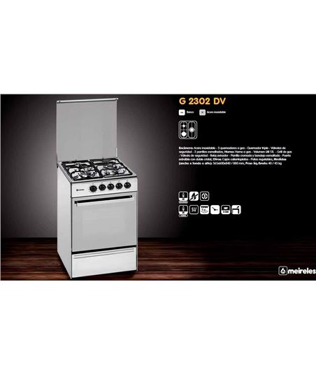 Cocina gas Meireles E531X but 3f 56.5cm inox h - E2302DVX