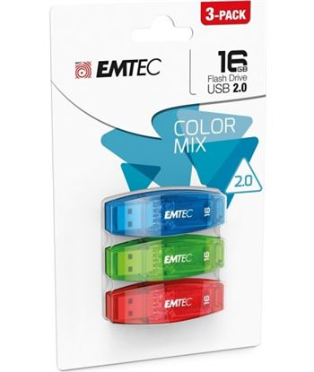 Pack 3 pendrives 2.0 16gb colores Emtec EMTECMMD16GC410