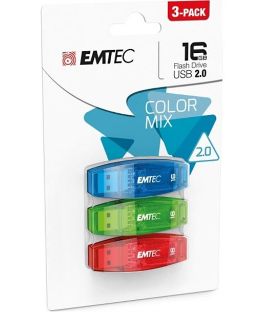 Pack 3 pendrives 2.0 16gb colores Emtec EMTECMMD16GC410 - EMTECMMD16GC410P3CB