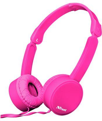 Auriculares diadema Trust nano summer micrófono manos libres plegables rosa 23102