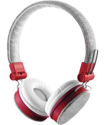 Auriculares Trust urban fyber grey/red - gran calidad sonido - plegables - 22643