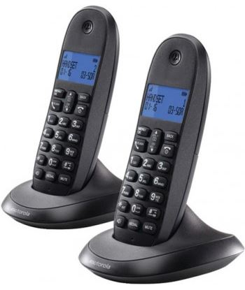 Motorola c1002lb+ gris granate teléfono fijo inalámbrico pack duo con manos C1002LB+ DUO GR