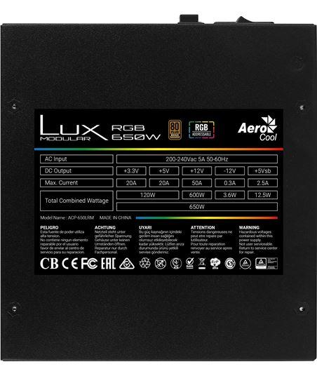 Fuente alimentación Aerocool lux rgb 650m - 600w - ventilador 12cm - eficie LUXRGB650M - 69278630_1640606512