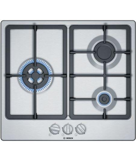 Bosch, pgc6b5b90, encimera, gas, encastrable, 60 cm, 3 quemadores, acero in - PGC6B5B90