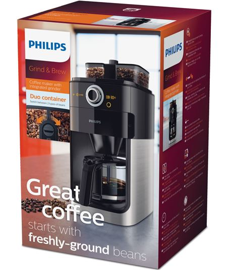 Cafetera Philips grind & brew HD7769/00 - 1000w - depósito 1.2l - 2*depósit - 59947220_2680010087