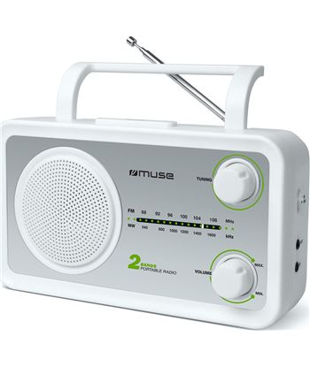 Muse m-06sw blanco plata radio analógica fm/am con altavoz integrado M06SW