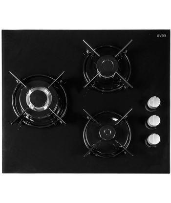 Svan SVEC3BF placa cristal gas 3 fuegos con wok Encimeras - SVEC3BF